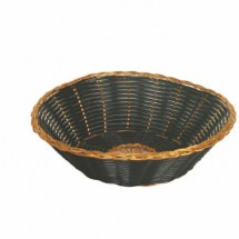 "Thunder Group PLBB825G Round Plastic Basket, Black with Gold Trim 8"" - 1 doz"
