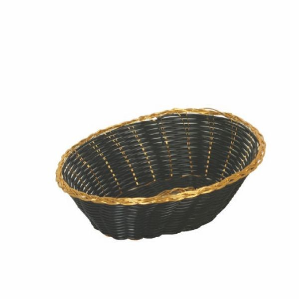 "Thunder Group PLBB900G Oval Plastic Basket. Black with Gold Trim 9-1/4"" x 7"" - 1 doz"