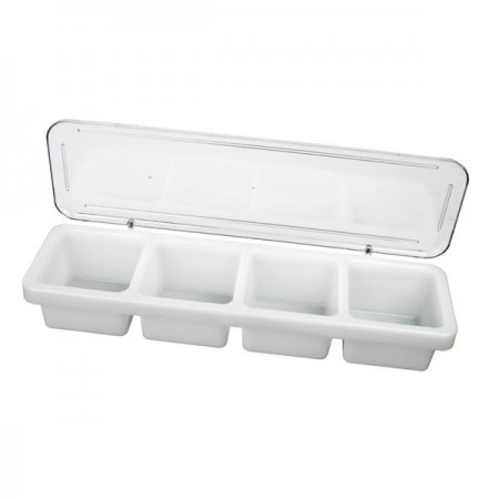 Thunder Group PLBC004P 4 Compartment Bar Caddy With Cover - 1/2 doz