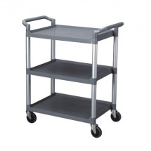 Thunder Group PLBC3316G Gray 3-Tier Bus Cart 33 1/2