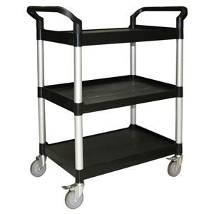 Thunder Group PLBC4019B Black 3-Tier Bus Cart