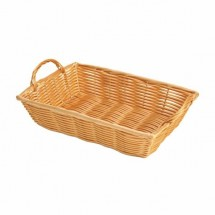 "Thunder Group PLBN1208T Plastic Hand-Woven Basket With Handle 12"" x 8"""