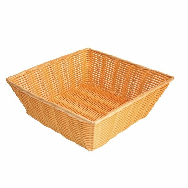 "Thunder Group PLBN1313T Square Plastic Hand-Woven Basket 13"" x 13"""