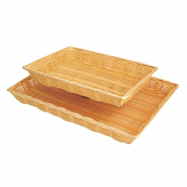 "Thunder Group PLBN1410T Rectangular Plastic Hand-Woven Basket 14"" x 10"""