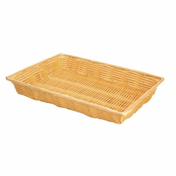 "Thunder Group PLBN1611T Plastic Hand-Woven Basket With Handle 16"" x 11"""