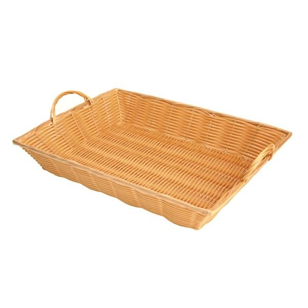 "Thunder Group PLBN1712T Plastic Hand-Woven Basket With Handle 17"" x 12-3/4"""