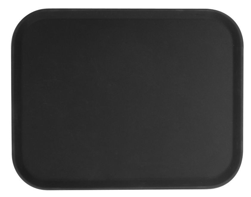 "Thunder Group PLFT1418BK Black Rectangular Fiberglass Tray 14"" x 18"""