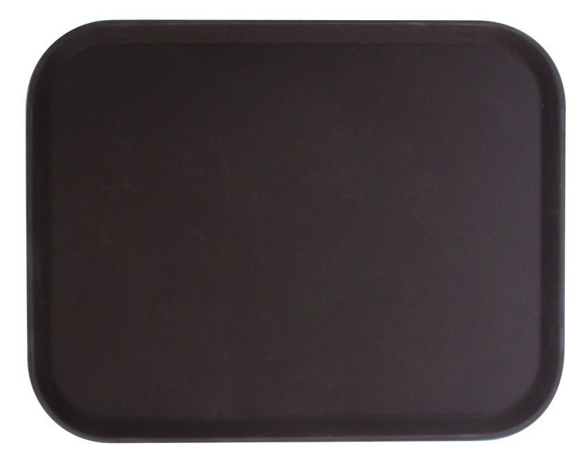 "Thunder Group PLFT1418BR Brown Rectangular Fiberglass Tray 14"" x 18"""