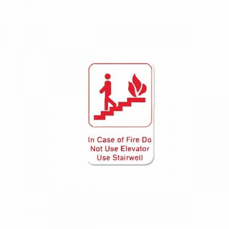 Thunder Group PLIS6904RD IN CASE OF FIRE DO NOT USE ELEVATOR USE STAIRWELL Sign - 1 doz