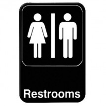 Thunder Group PLIS6908BK RESTROOMS Sign - 1 doz
