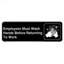 Thunder Group PLIS9325BK EMPLOYEES MUST WASH HANDS BEFORE RETURNING TO WORK Sign - 1 doz