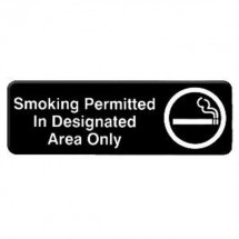 Thunder Group PLIS9327BK SMOKING PERMITTED IN DESIGINATED AREA ONLY Sign - 1 doz