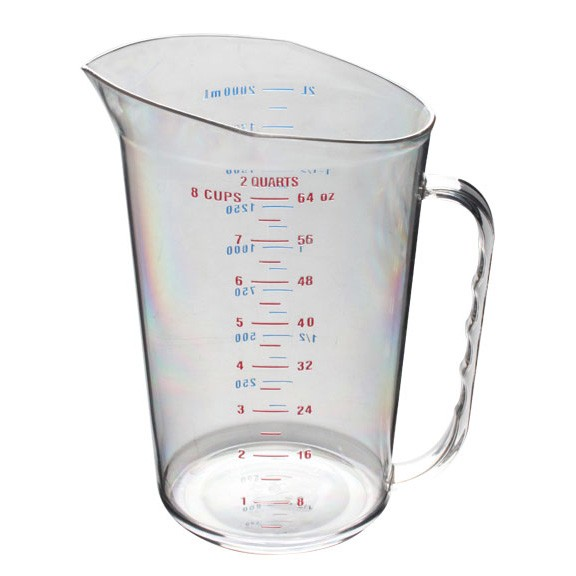 Thunder Group PLMC064CL Polycarbonate Measuring Cup 2 Qt. - 1/2 doz