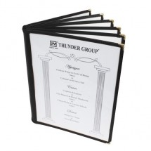 "Thunder Group PLMENU-6BL Black 6-Page Book Fold Menu Cover 8-1/2"" x 11"" - 10 pcs"