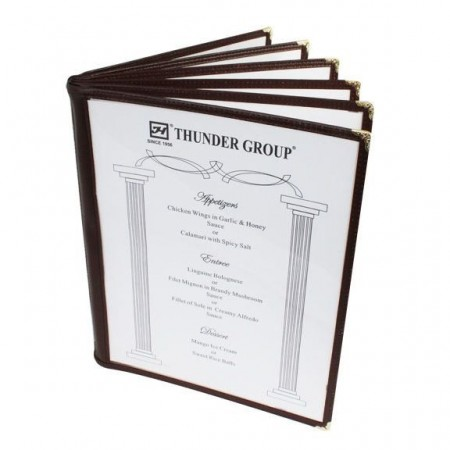 "Thunder Group PLMenu-6BR Brown 6-Page Book Fold Menu Cover 8-1/2"" x 11"" - 10 pcs"