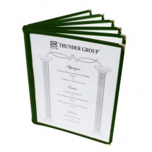 "Thunder Group PLMenu-6GR Green 6-Page Book Fold Menu Cover 8-1/2"" x 11"" - 10 pcs"