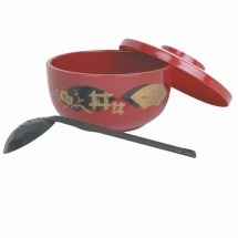 Thunder Group PLNB001 Japanese Red Soba Bowl With Lid And Ladle 30 oz