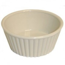 Thunder Group PLRM005W Bone White Fluted Ramekin 5 oz. - 1 doz