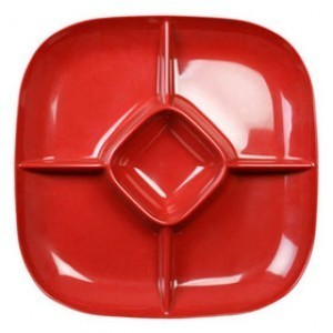 "Thunder Group PS1515RD Passion Red Chip and Dip Platter 15"" x 15"" - 1/2 doz"