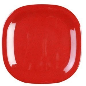"Thunder Group PS3008RD Passion Red Square Melamine Plate 8-1/4""- 1 doz."