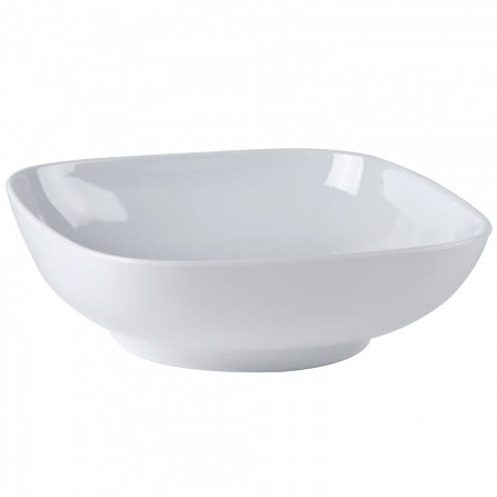 Thunder Group PS3111W Passion White Square Melamine Bowl 128 oz. - 1/2 doz.