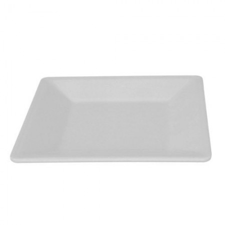 "Thunder Group PS3211W Passion White Square Melamine Plate 10-1/4"" - 1 doz."