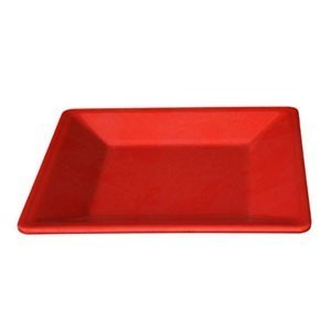 "Thunder Group PS3214RD Passion Red Square Melamine Plate 13-3/4"" - 1/2 doz."
