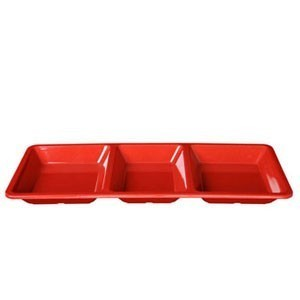 Thunder Group PS5103 Rectangular Melamine 3-Compartment Passion Tray 28 oz. - 1/2 doz