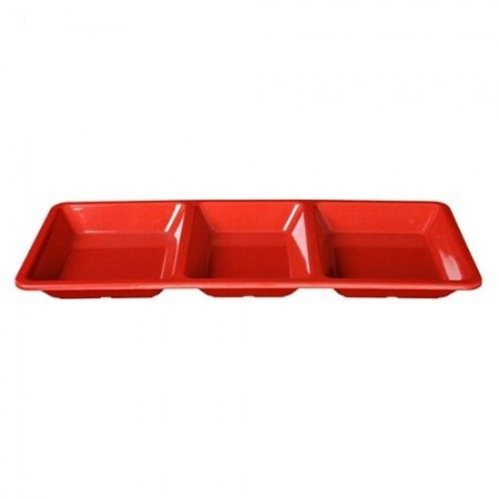 Thunder Group PS5103RD Passion Red Melamine Rectangular 3 Section Compartment Tray 28 oz. - 1/2 doz.