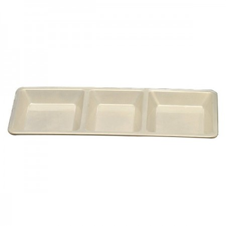 Thunder Group PS5103V Passion Pearl Melamine Rectangular 3 Section Compartment Tray 28 oz. - 1/2 doz.