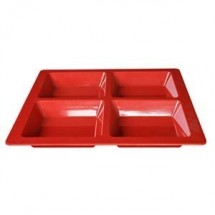 Thunder Group PS5104 Square Melamine 4-Compartment Passion Tray 60 oz. - 1/2 doz