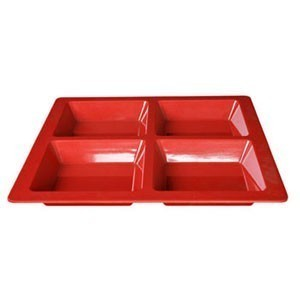 Thunder Group PS5104RD Passion Red Melamine Square 4 Section Compartment Tray 60 oz. - 1/2 doz.