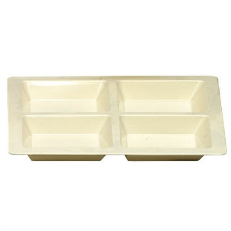 Thunder Group PS5104V Passion Pearl Melamine Square 4 Section Compartment Tray 60 oz. - 1/2 doz.