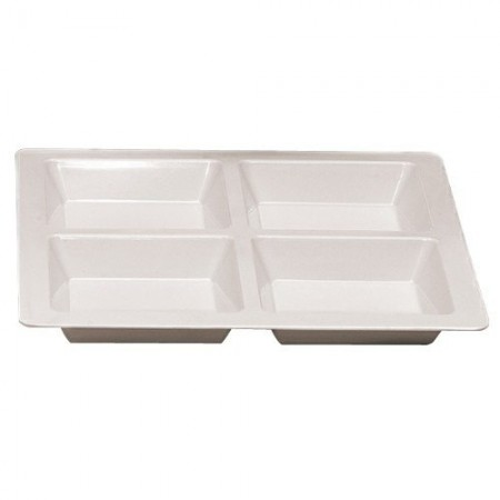 Thunder Group PS5104W Passion White Melamine Square 4 Section Compartment Tray 60 oz. - 1/2 doz.