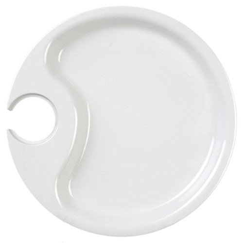 "Thunder Group RF7010W White Black Pearl Party Plate 10-1/2"" - 1/2 doz"