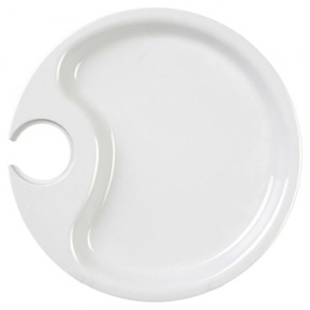 """Thunder Group RF7010W Black Pearl White Party Plate 10-1/2"""" - 1/2 doz."""