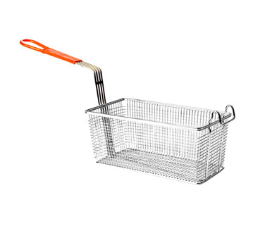 "Thunder Group SLFB008 Fry Basket With Orange Handle 12-1/8"" x 6-1/2"""