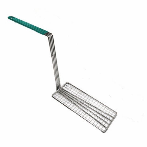 "Thunder Group SLFBP010 Stainless Steel Fry Basket Press With Green Handle 4-3/4"" x 10-3/4"""