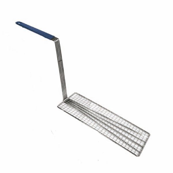 "Thunder Group SLFBP014 Stainless Steel Fry Basket Press With Blue Handle 5-3/4"" x 14-1/2"""