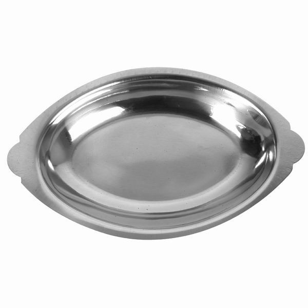 Thunder Group SLGT112 Oval Stainless Steel Au Gratin Tray 12 oz. - 1 doz