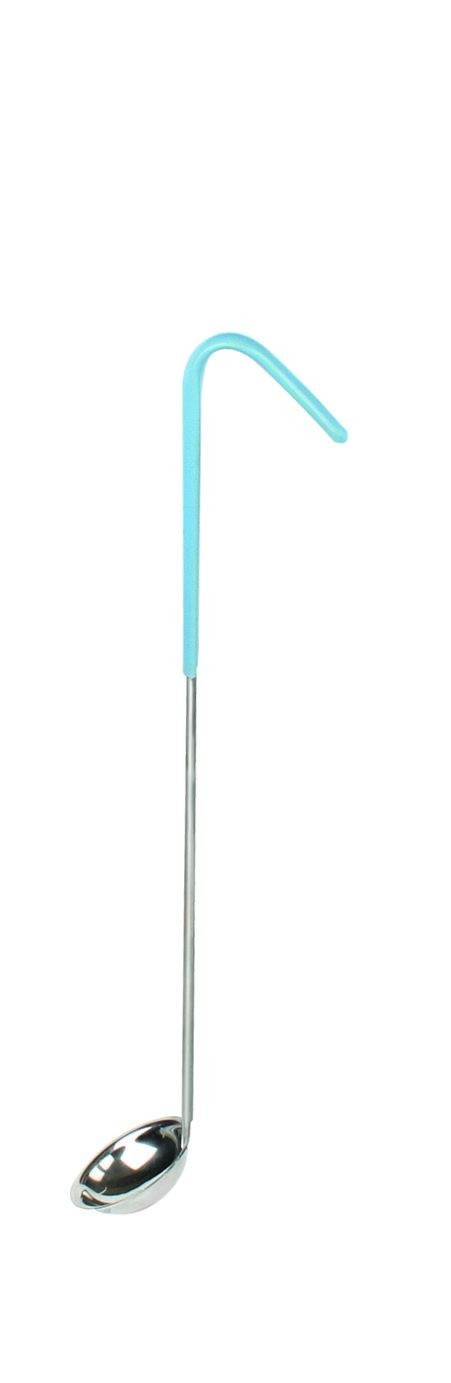 Thunder Group SLOL201 Stainless Steel 1-Piece Ladle with Teal Handle 1/2 oz.
