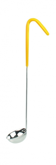 Thunder Group SLOL202 Stainless Steel 1-Piece Ladle with Yellow Handle 1 oz.