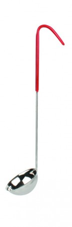 Thunder Group SLOL203 Stainless Steel 1-Piece Ladle with Red Handle 2 oz.