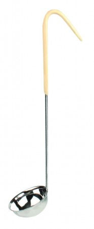 Thunder Group SLOL204 Stainless Steel 1-Piece Ladle with Ivory Handle 3 oz.