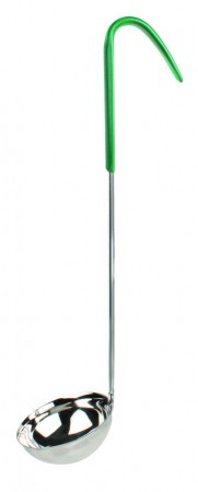 Thunder Group SLOL205 Stainless Steel 1-Piece Ladle with Green Handle 4 oz.