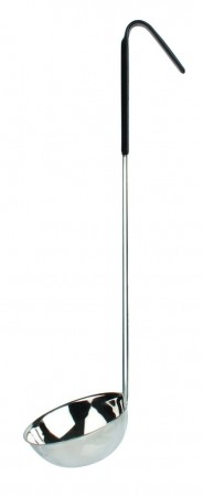 Thunder Group SLOL206 Stainless Steel 1-Piece Ladle with Black Handle 6 oz.