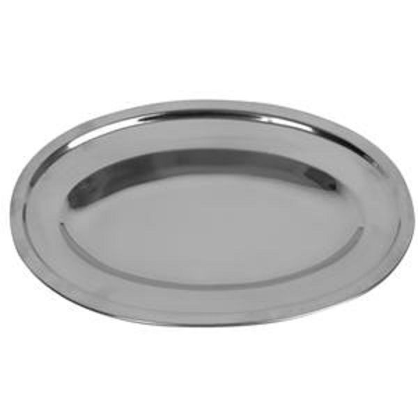 "Thunder Group SLOP010 Oval Stainless Steel Serving Platter 10"" - 1 doz"