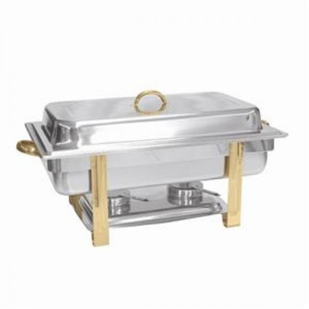 Thunder Group SLRCF0833GH Stainless Steel Oblong Chafer with Gold Accents 8 Qt.
