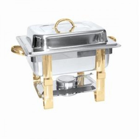 Thunder Group SLRCF0834GH Half Size Rectangular Chafer with Gold Accents 4 Qt.