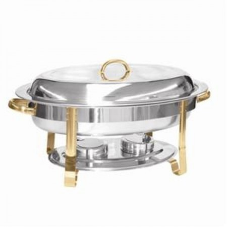Thunder Group SLRCF0836GH Stainless Steel Oval Chafer with Gold Accents  6 Qt.